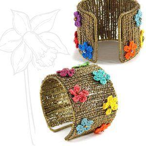 Brass & Knit Petals Beaded Cuff